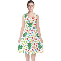 Pattern Circle Multi Color V Neck Midi Sleeveless Dress