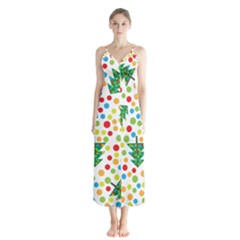 Pattern Circle Multi Color Button Up Chiffon Maxi Dress