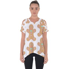 Pattern Christmas Biscuits Pastries Cut Out Side Drop Tee by Sapixe