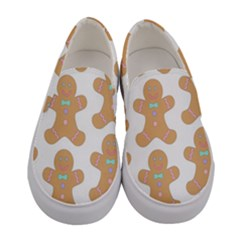Pattern Christmas Biscuits Pastries Women s Canvas Slip Ons