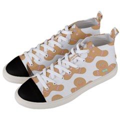 Pattern Christmas Biscuits Pastries Men s Mid Top Canvas Sneakers by Sapixe