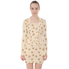 Pattern Gingerbread Star V Neck Bodycon Long Sleeve Dress