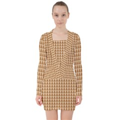 Pattern Gingerbread Brown V Neck Bodycon Long Sleeve Dress