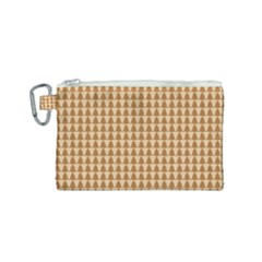 Pattern Gingerbread Brown Canvas Cosmetic Bag (small)