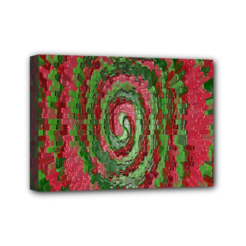 Red Green Swirl Twirl Colorful Mini Canvas 7  X 5  by Sapixe
