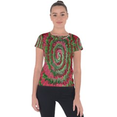 Red Green Swirl Twirl Colorful Short Sleeve Sports Top