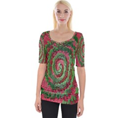 Red Green Swirl Twirl Colorful Wide Neckline Tee by Sapixe
