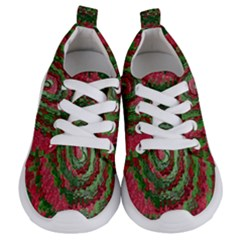Red Green Swirl Twirl Colorful Kids  Lightweight Sports Shoes
