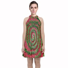 Red Green Swirl Twirl Colorful Velvet Halter Neckline Dress