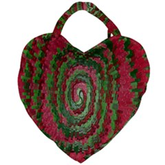 Red Green Swirl Twirl Colorful Giant Heart Shaped Tote by Sapixe