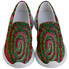 Red Green Swirl Twirl Colorful Kid s Lightweight Slip Ons by Sapixe