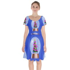Seamless Repeat Repeating Pattern Art Short Sleeve Bardot Dress