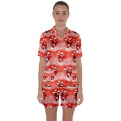 Seamless Repeat Repeating Pattern Satin Short Sleeve Pyjamas Set