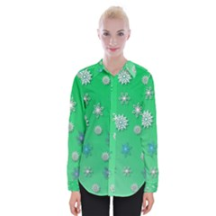 Snowflakes Winter Christmas Overlay Womens Long Sleeve Shirt