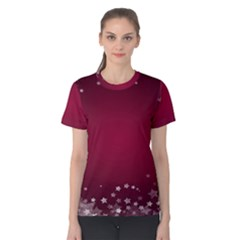 Star Background Christmas Red Women s Cotton Tee
