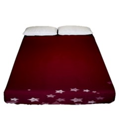 Star Background Christmas Red Fitted Sheet (queen Size) by Sapixe