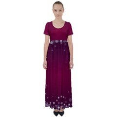 Star Background Christmas Red High Waist Short Sleeve Maxi Dress
