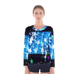 Star Abstract Background Pattern Women s Long Sleeve Tee