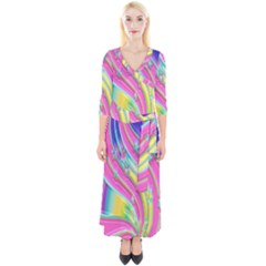 Star Christmas Pattern Texture Quarter Sleeve Wrap Maxi Dress by Sapixe