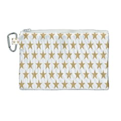 Star Background Gold White Canvas Cosmetic Bag (large) by Sapixe
