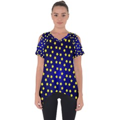 Star Christmas Red Yellow Cut Out Side Drop Tee