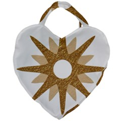 Star Golden Glittering Yellow Rays Giant Heart Shaped Tote