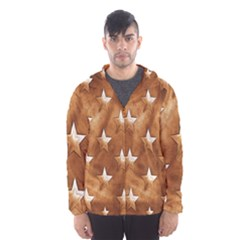 Stars Brown Background Shiny Hooded Wind Breaker (men)