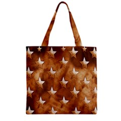 Stars Brown Background Shiny Zipper Grocery Tote Bag by Sapixe