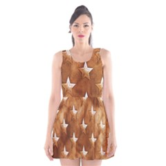 Stars Brown Background Shiny Scoop Neck Skater Dress by Sapixe