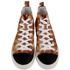 Stars Brown Background Shiny Men s Mid Top Canvas Sneakers