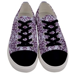 Damask1 White Marble & Purple Leather (r) Men s Low Top Canvas Sneakers