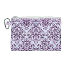 Damask1 White Marble & Purple Leather (r) Canvas Cosmetic Bag (large) by trendistuff