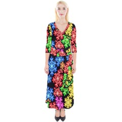 Wallpaper Background Abstract Quarter Sleeve Wrap Maxi Dress
