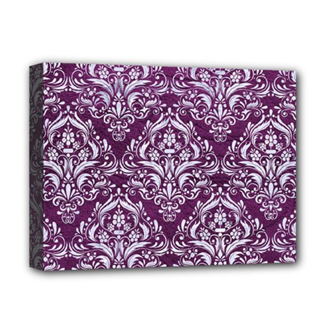 Damask1 White Marble & Purple Leather Deluxe Canvas 16  X 12