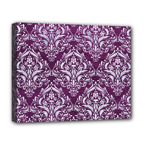 Damask1 White Marble & Purple Leather Deluxe Canvas 20  X 16   by trendistuff