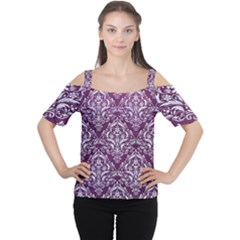 Damask1 White Marble & Purple Leather Cutout Shoulder Tee by trendistuff