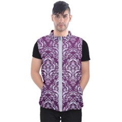 Damask1 White Marble & Purple Leather Men s Puffer Vest by trendistuff