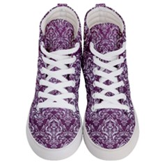Damask1 White Marble & Purple Leather Women s Hi Top Skate Sneakers