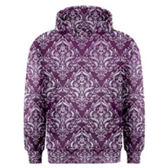 Damask1 White Marble & Purple Leather Men s Overhead Hoodie