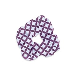 Circles3 White Marble & Purple Leather (r) Velvet Scrunchie by trendistuff