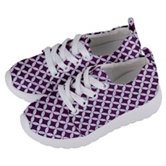Circles3 White Marble & Purple Leather Kids  Lightweight Sports Shoes by trendistuff