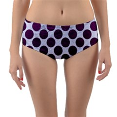 Circles2 White Marble & Purple Leather (r) Reversible Mid Waist Bikini Bottoms