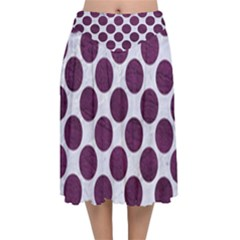 Circles2 White Marble & Purple Leather (r) Velvet Flared Midi Skirt by trendistuff