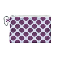 Circles2 White Marble & Purple Leather (r) Canvas Cosmetic Bag (medium) by trendistuff