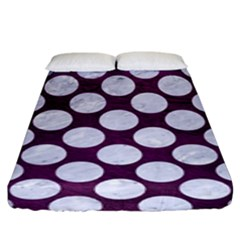 Circles2 White Marble & Purple Leather Fitted Sheet (king Size)