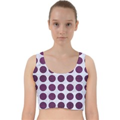 Circles1 White Marble & Purple Leather (r) Velvet Racer Back Crop Top