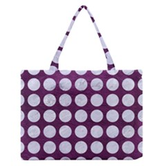 Circles1 White Marble & Purple Leather Zipper Medium Tote Bag by trendistuff