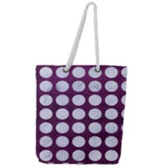 Circles1 White Marble & Purple Leather Full Print Rope Handle Tote (large) by trendistuff