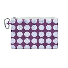Circles1 White Marble & Purple Leather Canvas Cosmetic Bag (medium) by trendistuff