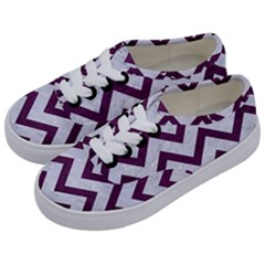 Chevron9 White Marble & Purple Leather (r) Kids  Classic Low Top Sneakers by trendistuff